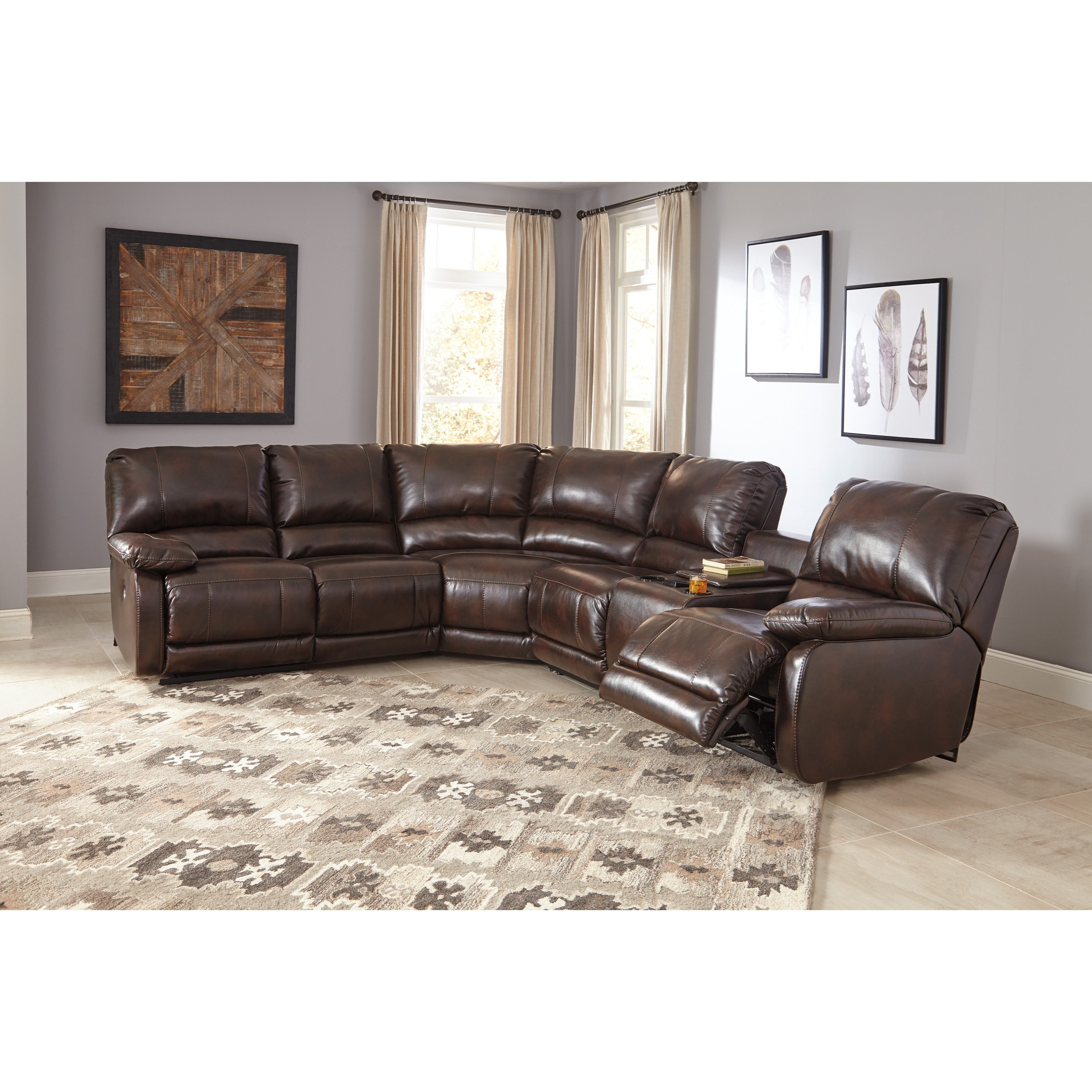 Ashley Signature Design Hallettsville Power Reclining Sectional With Massage Heat And Cup