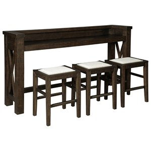 Counter Height Bar Table Set with 3 Stools