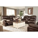 Signature Design by Ashley Hallstrung Leather Match Power Reclining Loveseat with Console & Adjustable Headrests