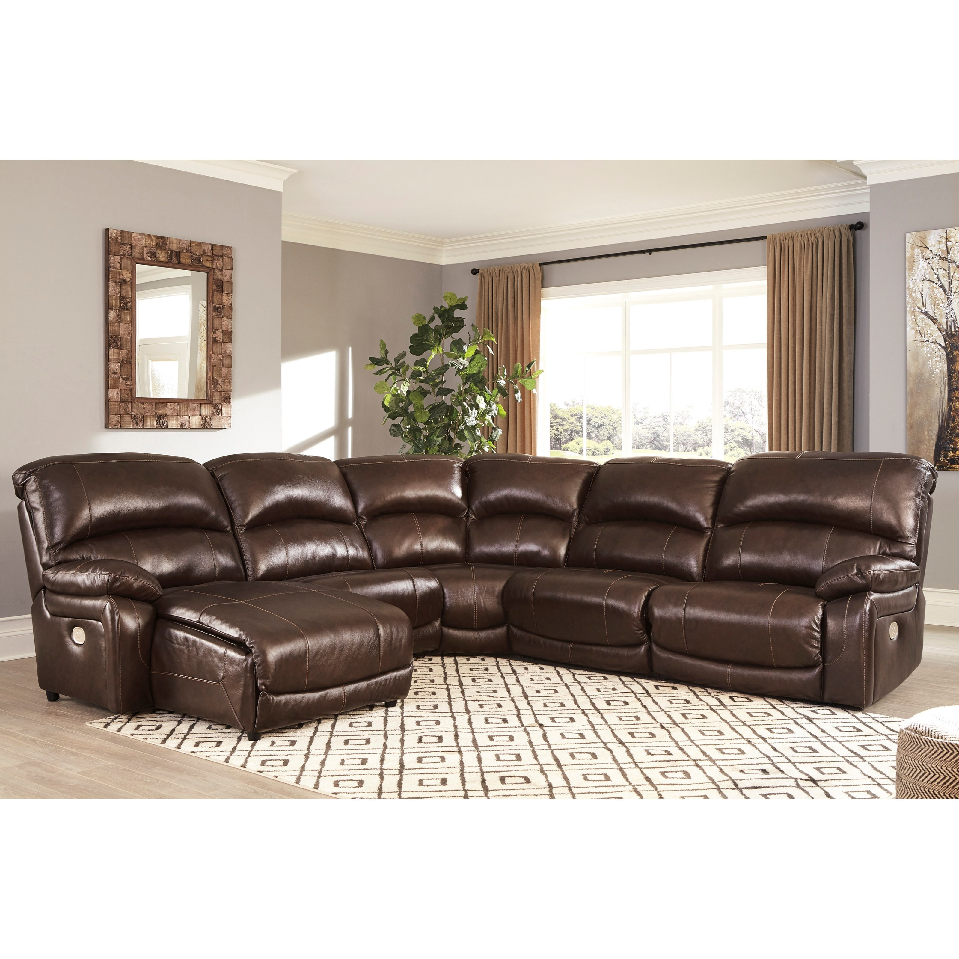 Hoffman Leather Match 5-Piece Reclining Sectional with ...