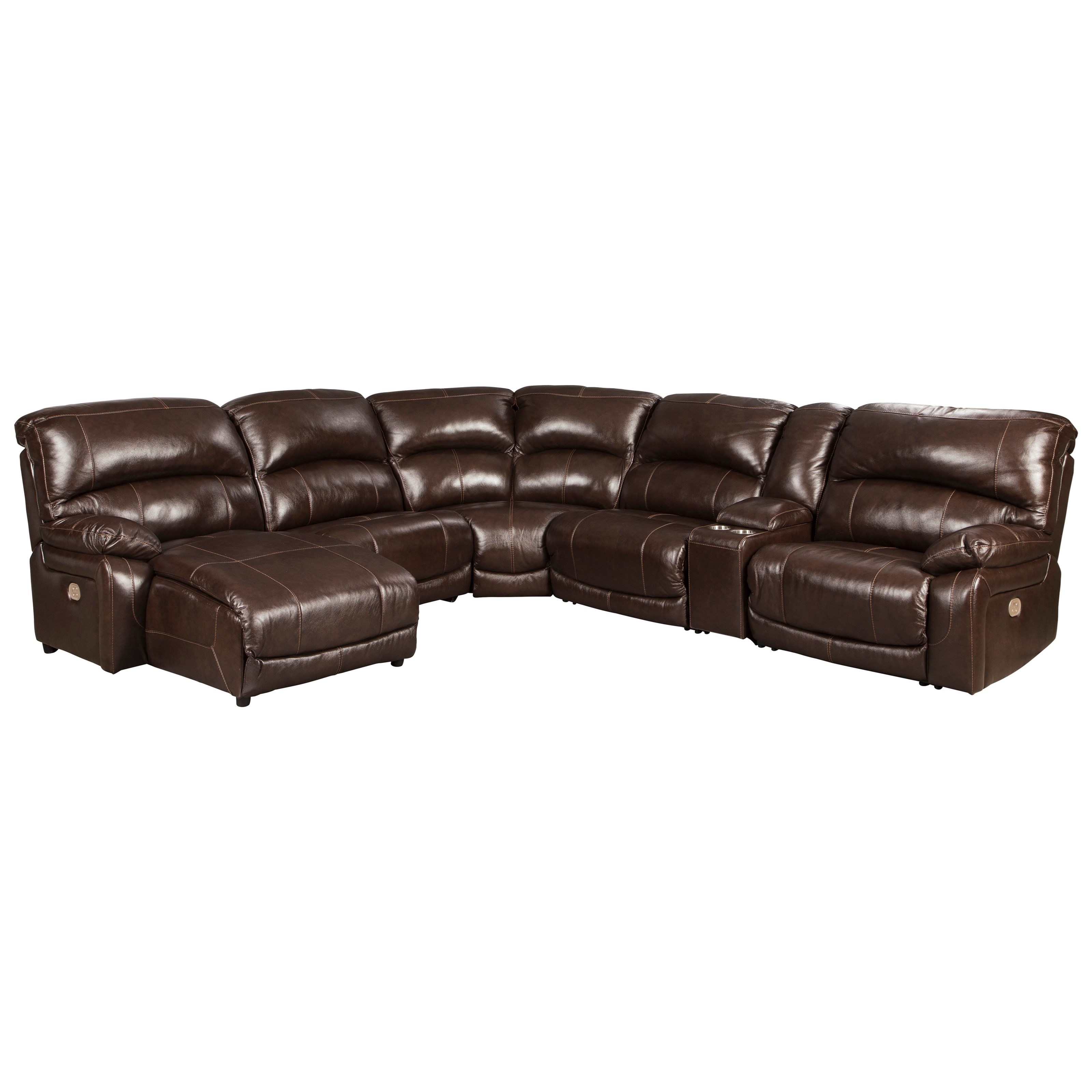 Hallstrung 5-Piece Reclining Sectional with Chaise by Ashley (Signature Design) at Johnny Janosik