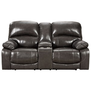 Pwr Rec Loveseat with Console & Adj Hdrsts