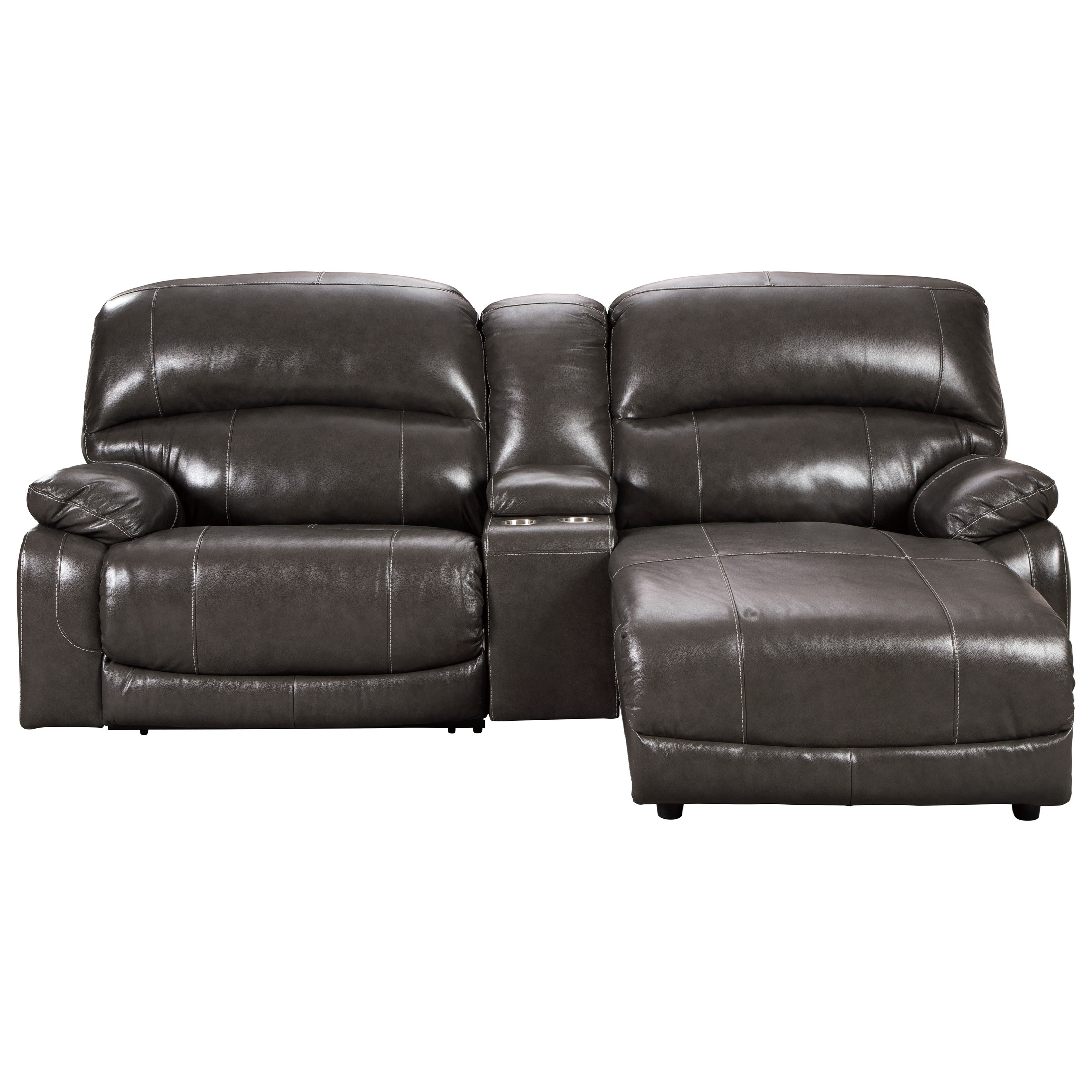 Hallstrung 3-Piece Recl Sectional w/ Chaise & Console by Ashley (Signature Design) at Johnny Janosik