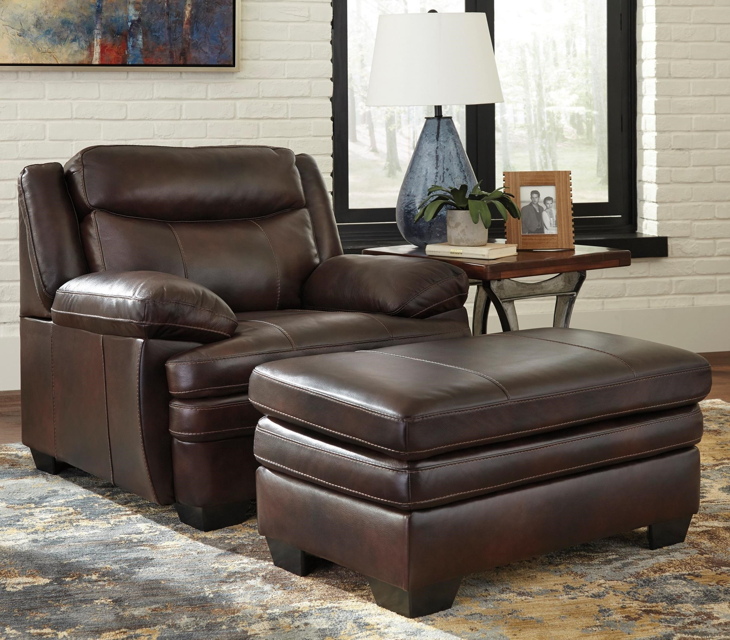Signature Design By Ashley Hannalore Contemporary Leather Match Chair Ottoman Furniture And