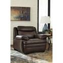 Signature Design by Ashley Hannalore Contemporary Leather Match Chair & Ottoman