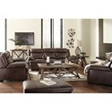 Signature Design by Ashley Hannalore Contemporary Leather Match Loveseat