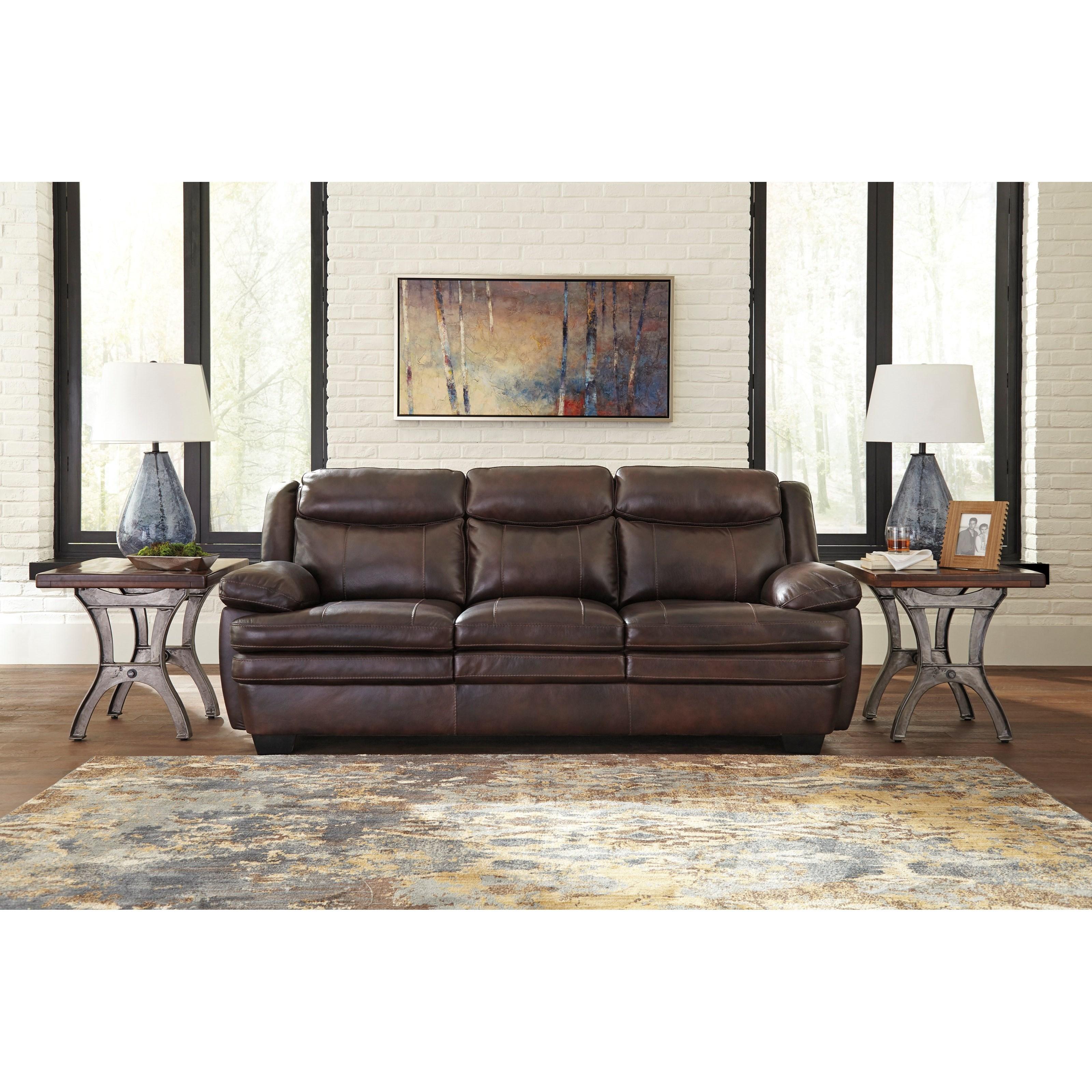 Signature Design By Ashley Hannalore 1530438 Contemporary Leather Match Sofa John V Schultz