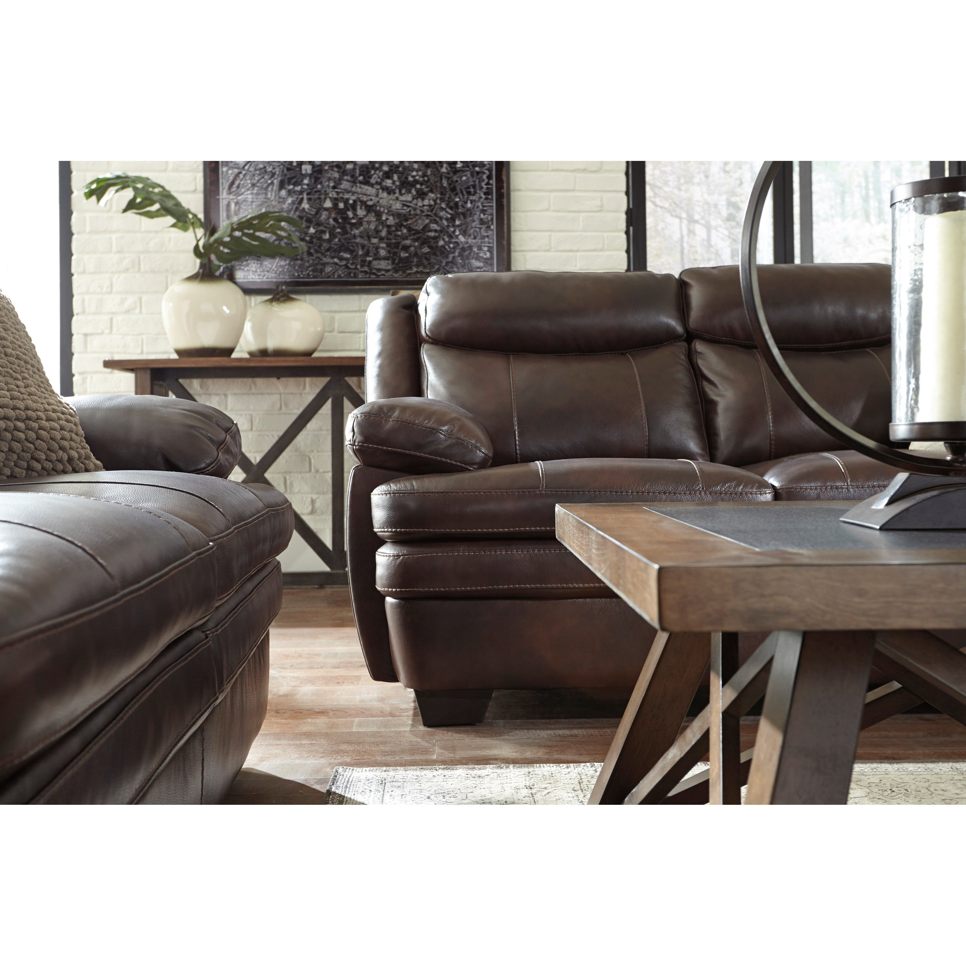 Leather Sofa Repairs Bromley: Signature Design By Ashley Hannalore Contemporary Leather