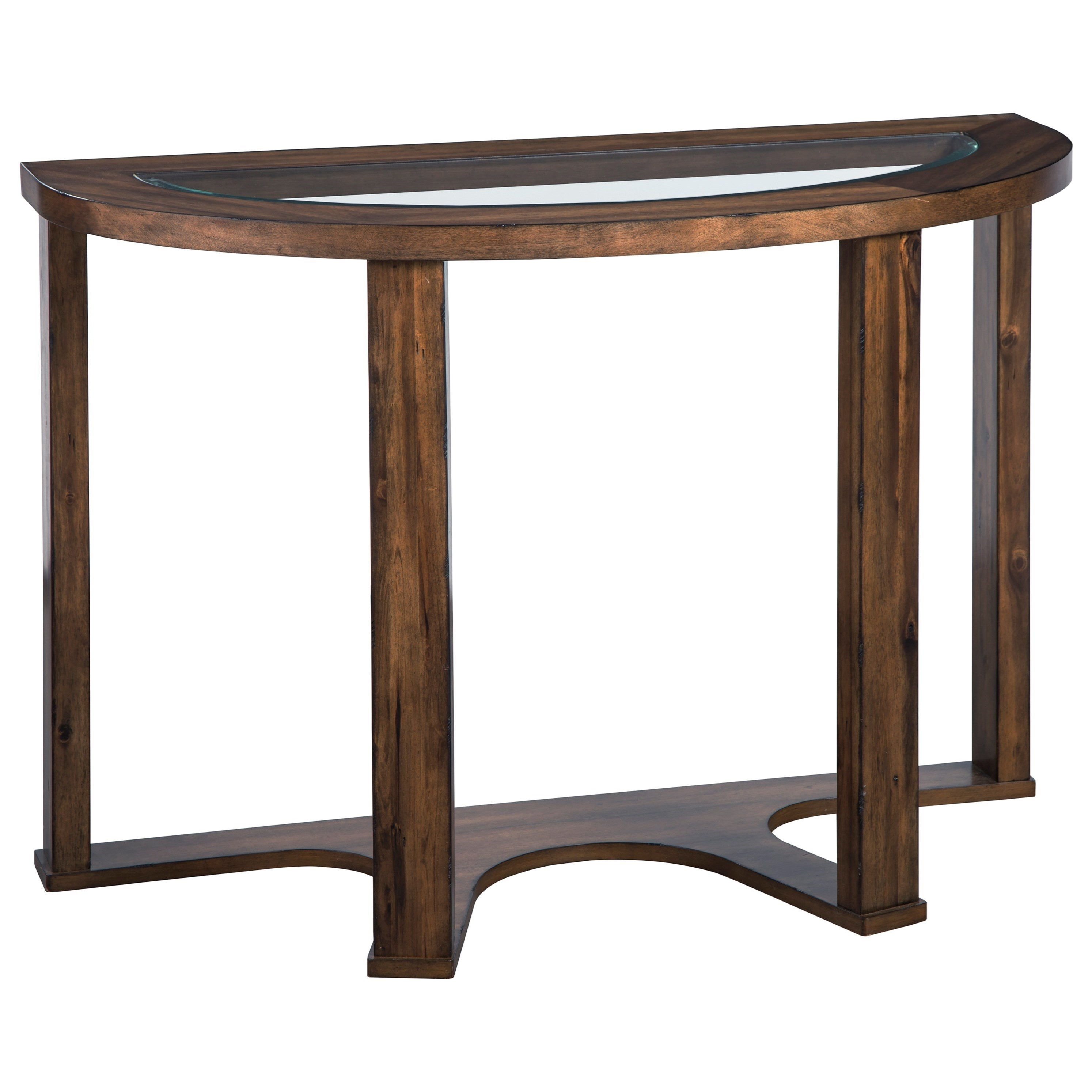 Hannery Contemporary Demilune Sofa Table with Glass Top by Signature Design  by Ashley at Sam Levitz Furniture