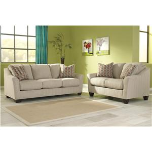Signature Design by Ashley Furniture Hannin - Stone Stationary Living Room Group