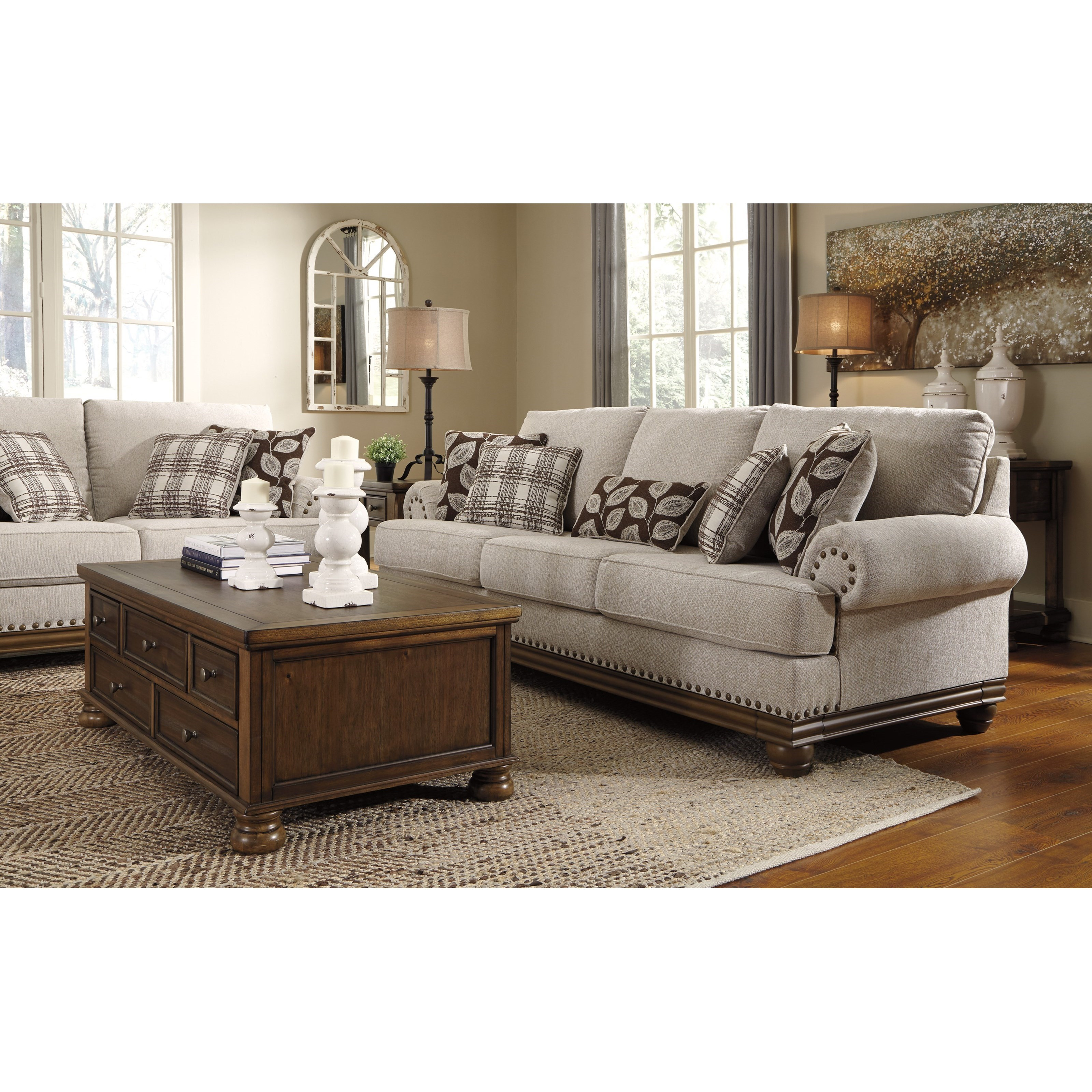 Transitional Style Living Room Furniture: Ashley Signature Design Harleson 1510438 Transitional Sofa