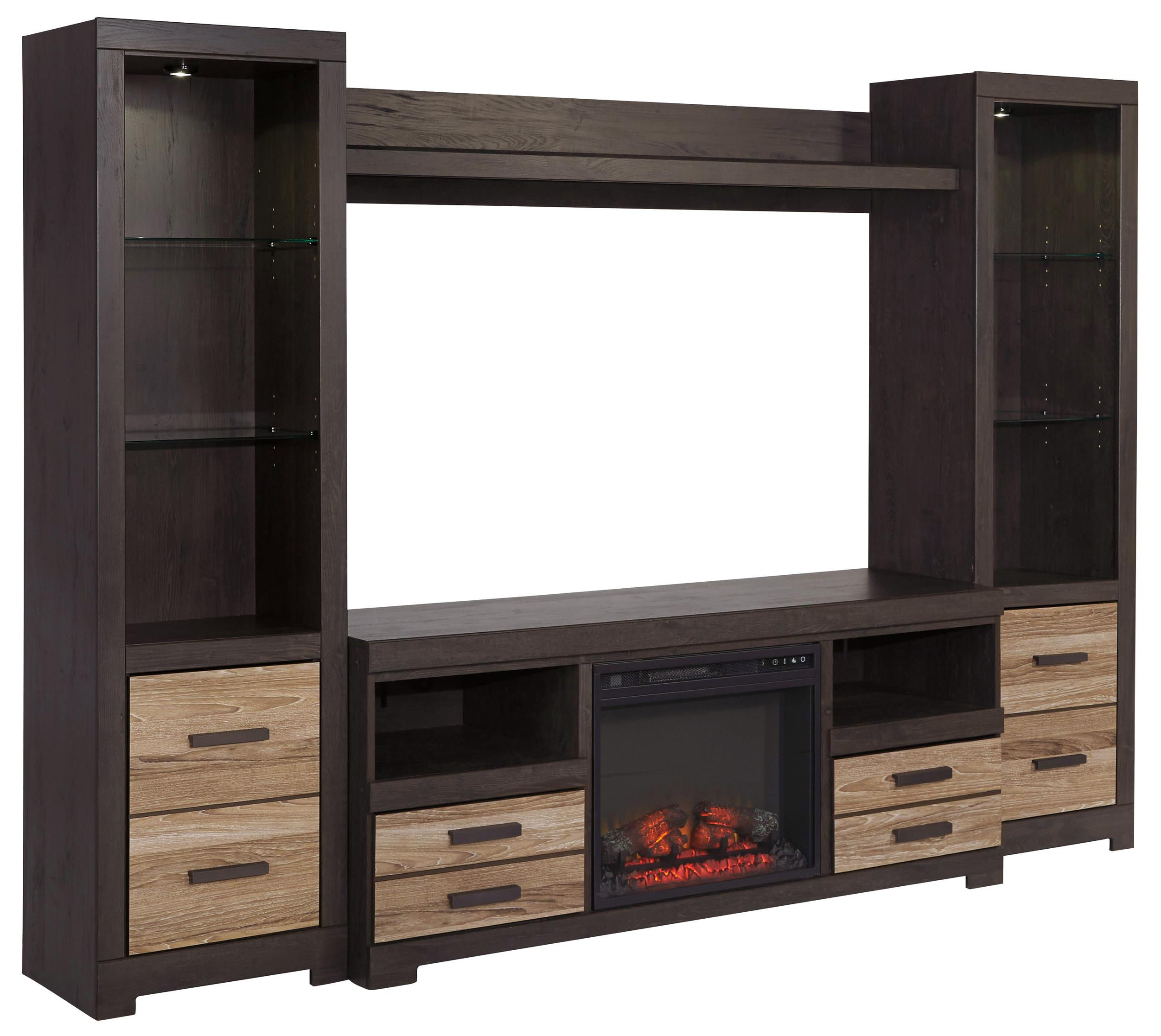 Signature Design by Ashley Harlinton TV Stand w/ Fireplace & 2 Piers w/ Bridge - Item Number: W325-68+2x24+27+W100-01