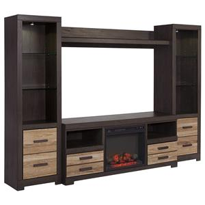 Ashley (Signature Design) Harlinton TV Stand w/ Fireplace & 2 Piers w/ Bridge