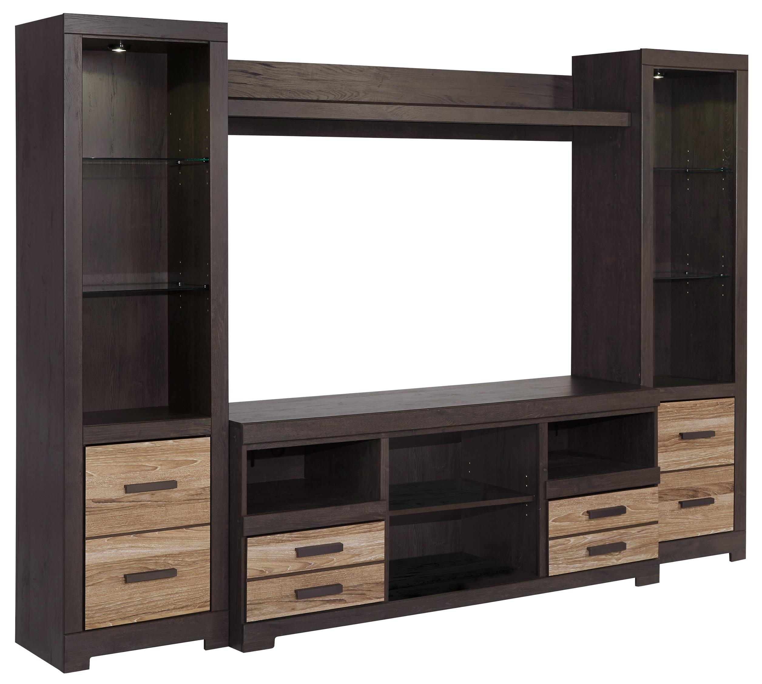 Signature Design by Ashley Harlinton Large TV Stand & 2 Tall Piers w/ Bridge - Item Number: W325-68+2x24+27