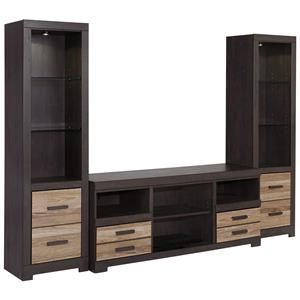 Ashley (Signature Design) Harlinton Large TV Stand & 2 Tall Piers