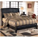Signature Design by Ashley Harmony Queen Upholstered Sleigh Headboard with Platform Style Footboard - Bed Shown May Not Represent Size Indicated
