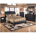 Signature Design by Ashley Harmony Queen Upholstered Sleigh Headboard with Platform Style Footboard - Shown with Nightstand, Chest, Dresser, and Mirror