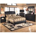 Signature Design by Ashley Harmony Queen Upholstered Sleigh Headboard with Platform Style Footboard - Shown with Nightstand, Media Chest, Dresser, and Mirror