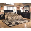 Signature Design by Ashley Harmony Queen/Full Sleigh Headboard (RTA) - Shown with Nightstand, Chest, Dresser, and Mirror