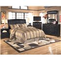 Signature Design by Ashley Harmony Queen/Full Sleigh Headboard (RTA) - Shown with Nightstand, Media Chest, Dresser, and Mirror