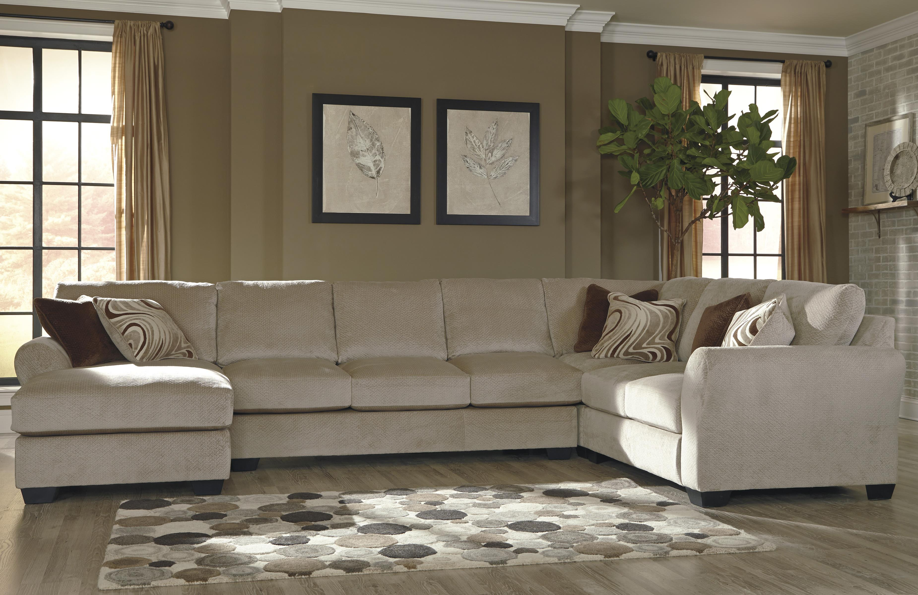 Benchcraft Hazes 4 Piece Sectional w Armless Sofa & Left Chaise