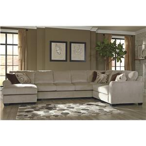 Benchcraft Hazes 4-Piece Sectional w/ Armless Sofa & Chaise