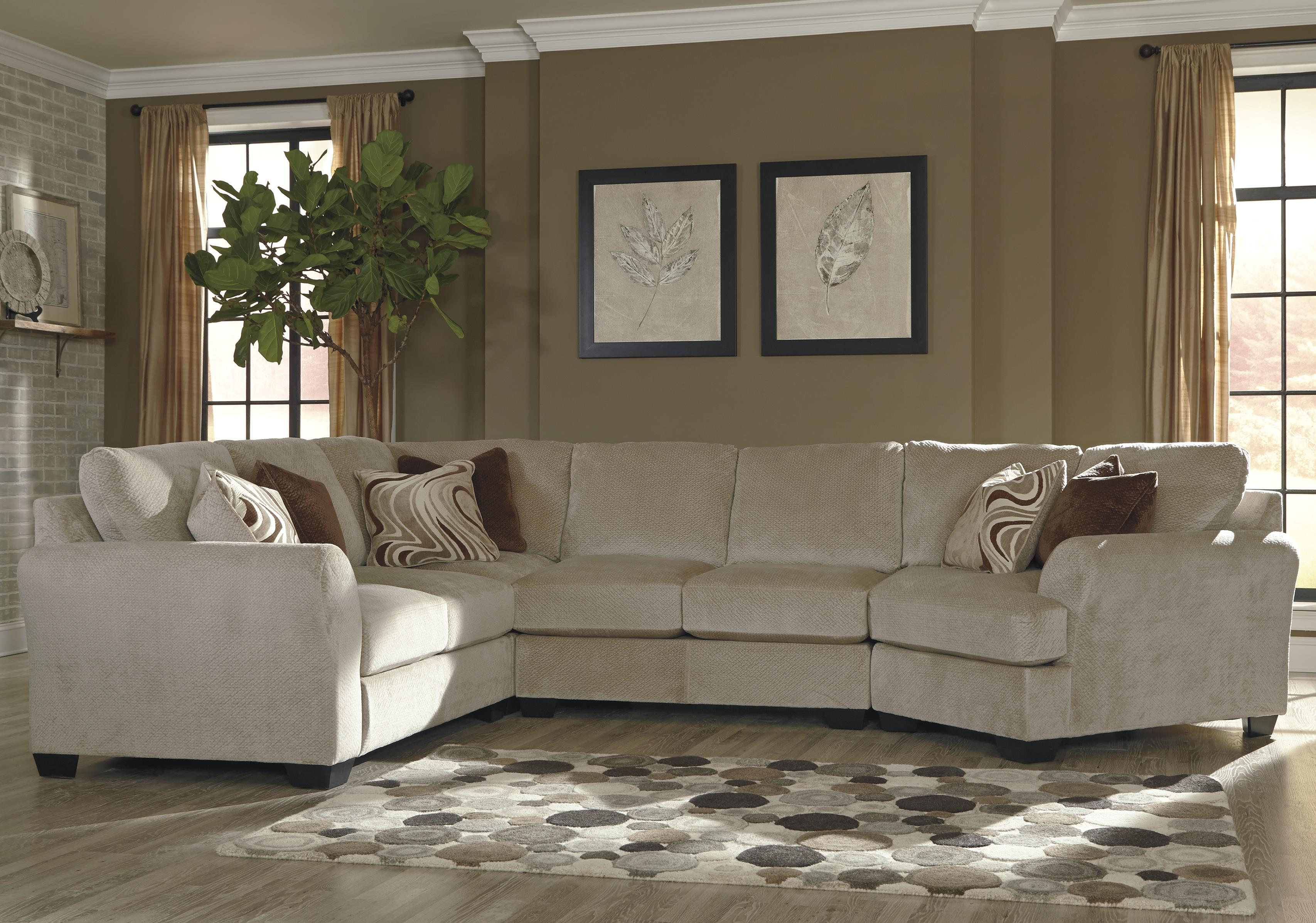 Benchcraft Hazes 4-Piece Sectional w/ Cuddler - Item Number: 6570155+77+34+75
