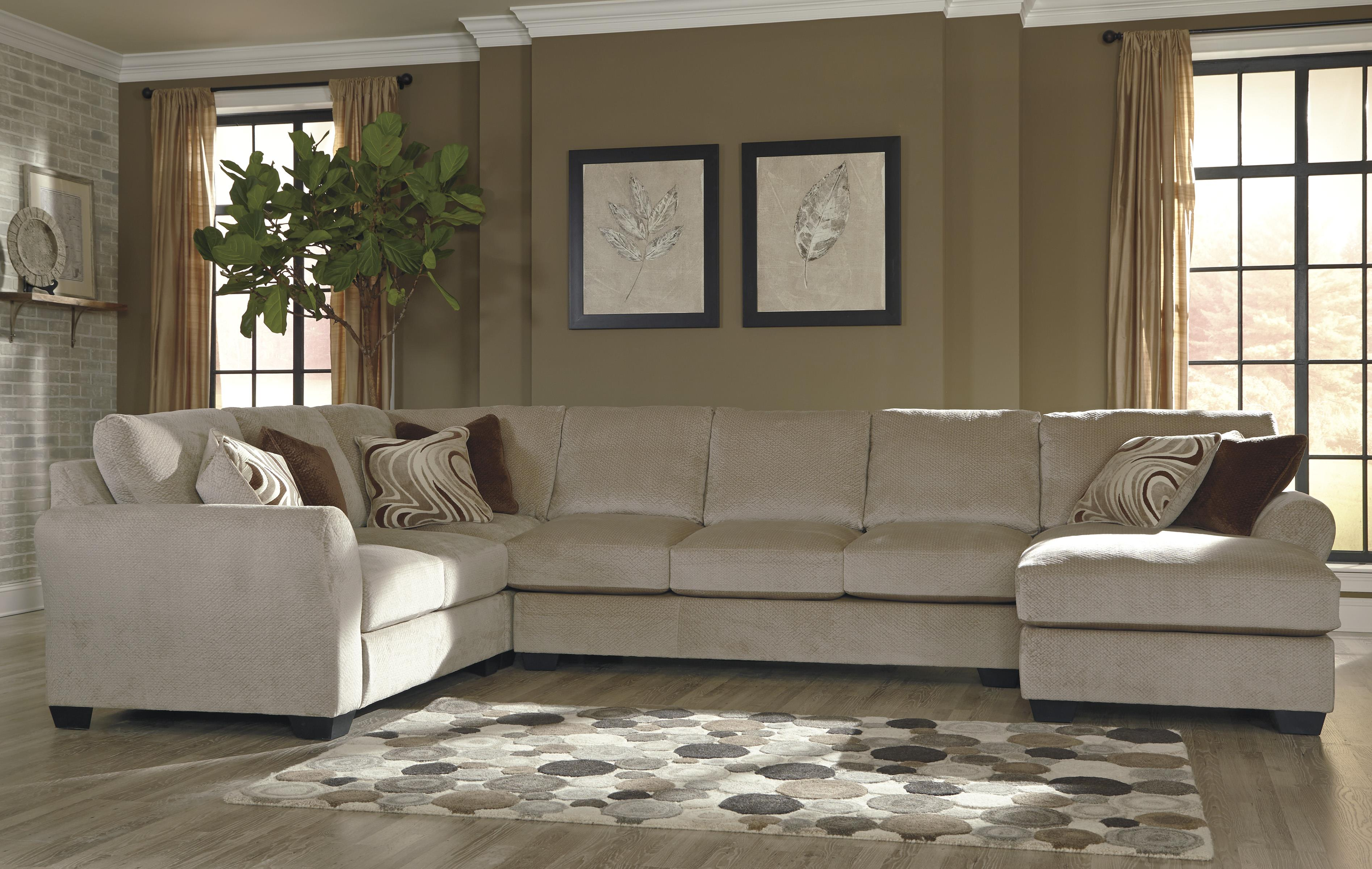 Benchcraft Hazes 4 Piece Sectional w Armless Sofa & Right Chaise