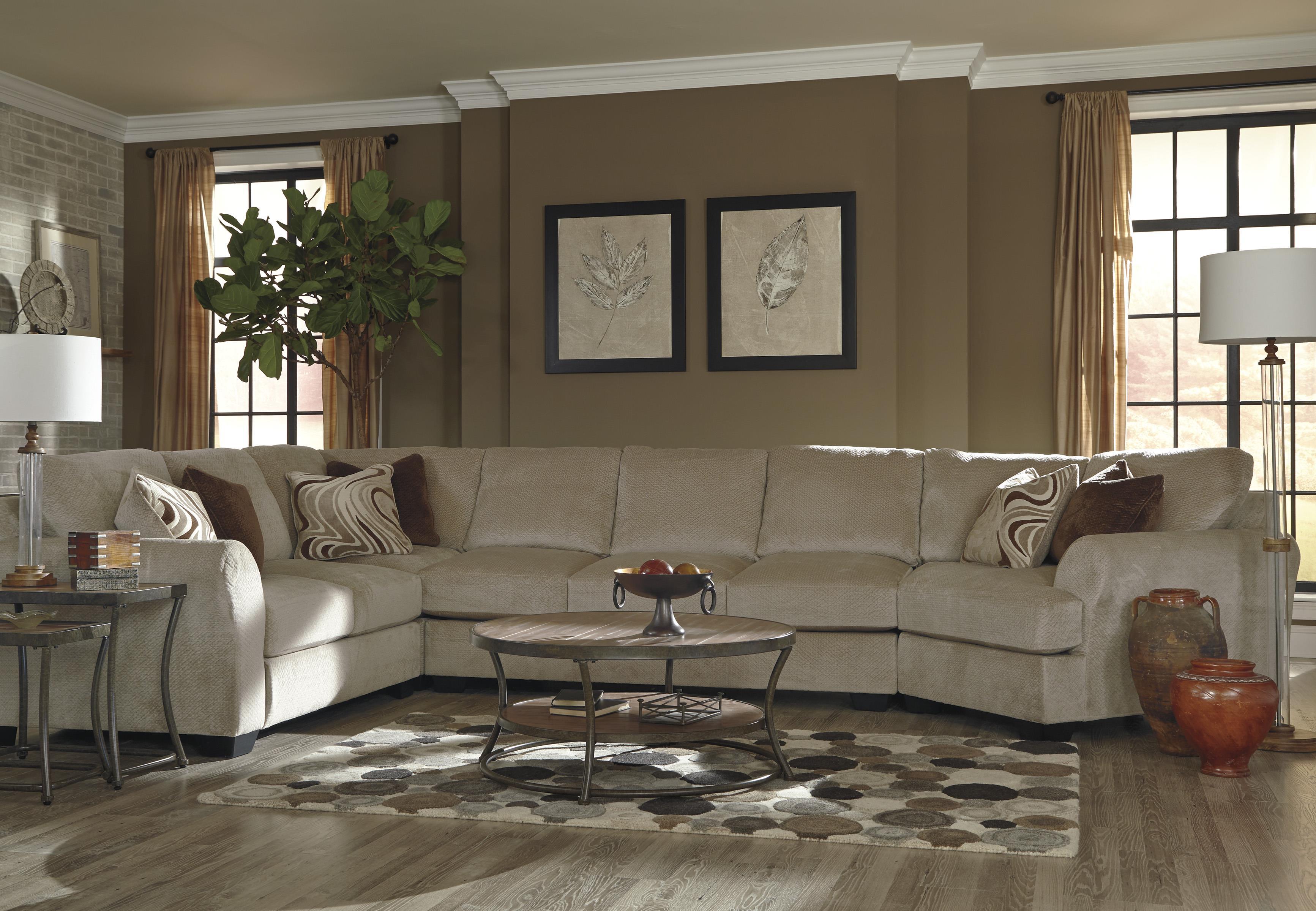 Ashley/Benchcraft Hazes 4-Piece Sectional w/ Armless Sofa & Cuddler - Item Number: 6570155+77+99+75