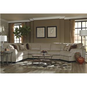 Benchcraft Hazes 4-Piece Sectional w/ Armless Sofa & Cuddler