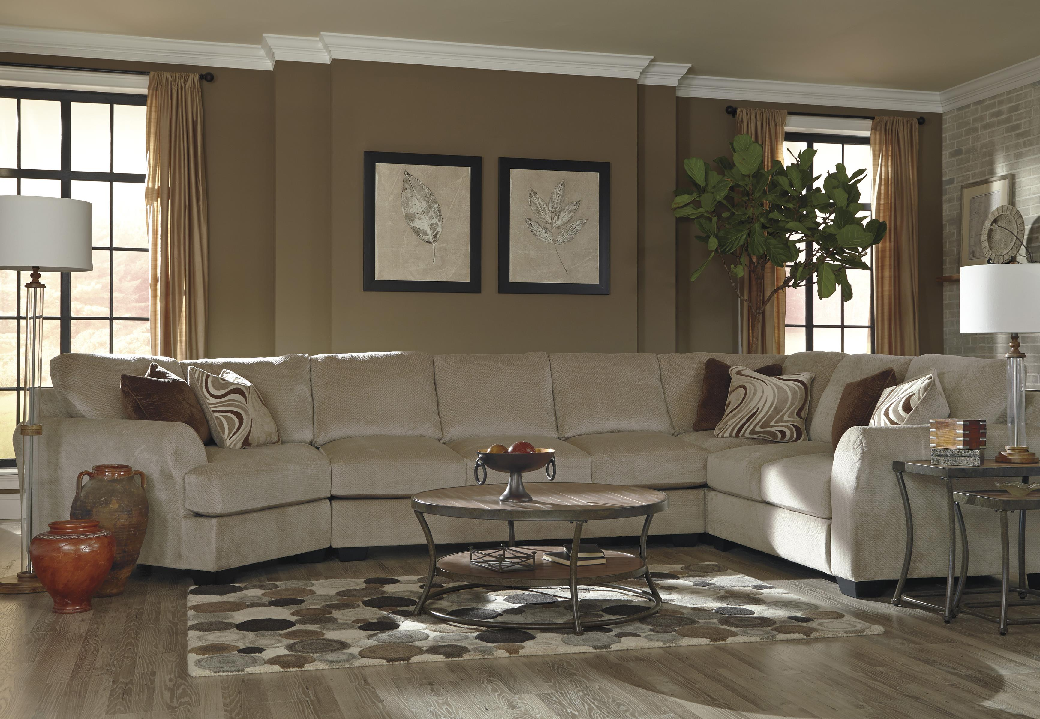 Benchcraft Hazes 4-Piece Sectional w/ Armless Sofa & Cuddler - Item Number: 6570176+99+77+56