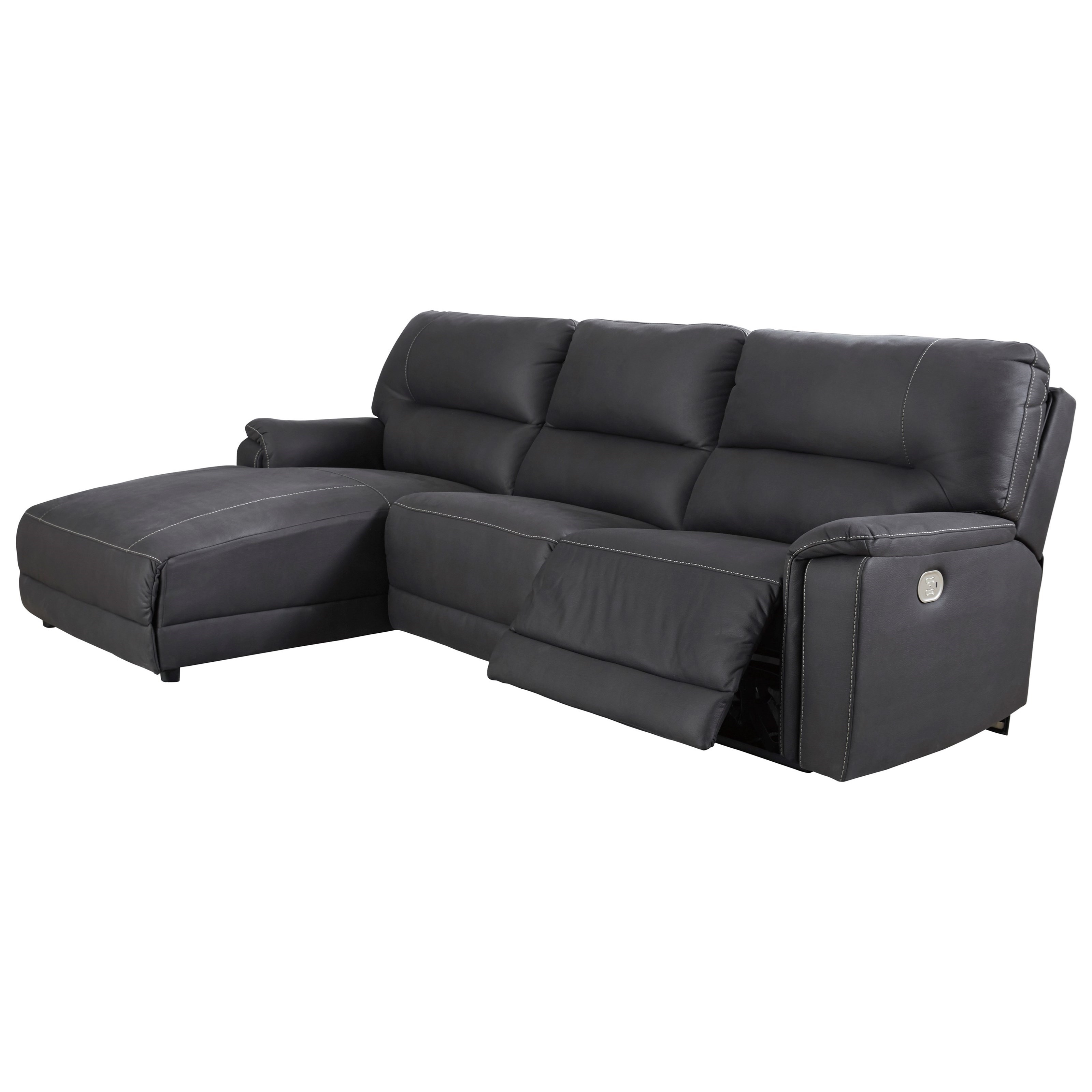 Henefer Power Reclining Sectional with Chaise by Signature Design by Ashley at Beck's Furniture
