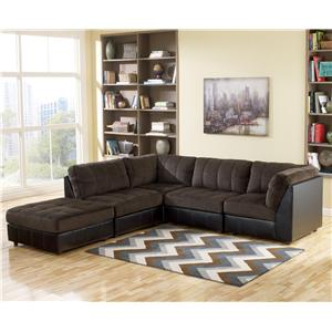 Signature Design By Ashley Hobokin Chocolate Contemporary 5 Piece Sectional Item Number