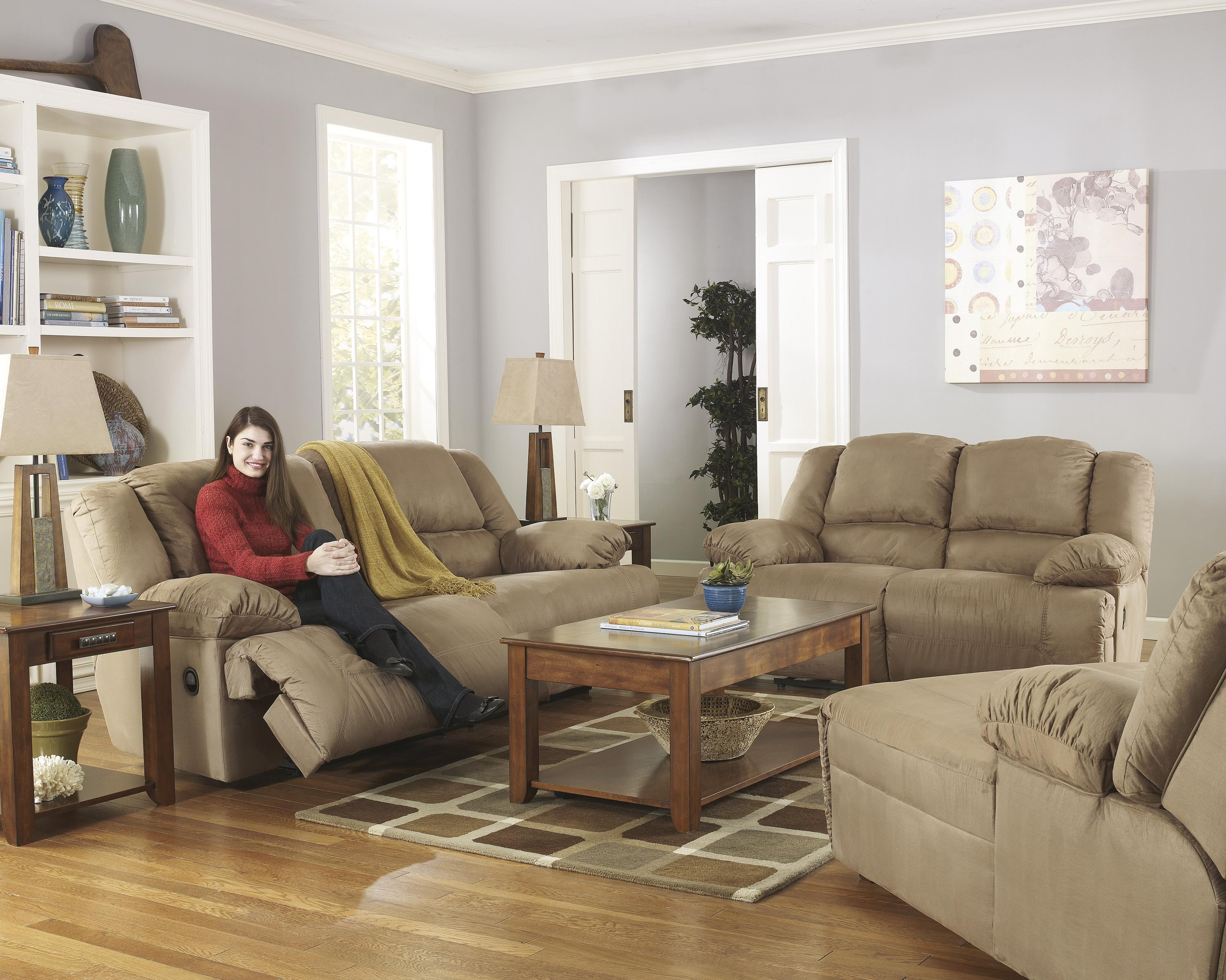 Signature Design by Ashley Hogan - Mocha Reclining Living Room Group - Item Number: 57802 Living Room Group 3