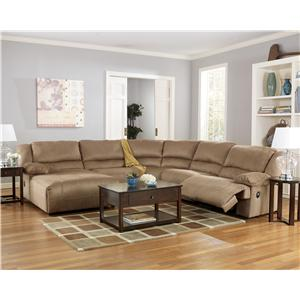 Signature Design by Ashley Hogan - Mocha 5 Piece Motion Sectional with Chaise