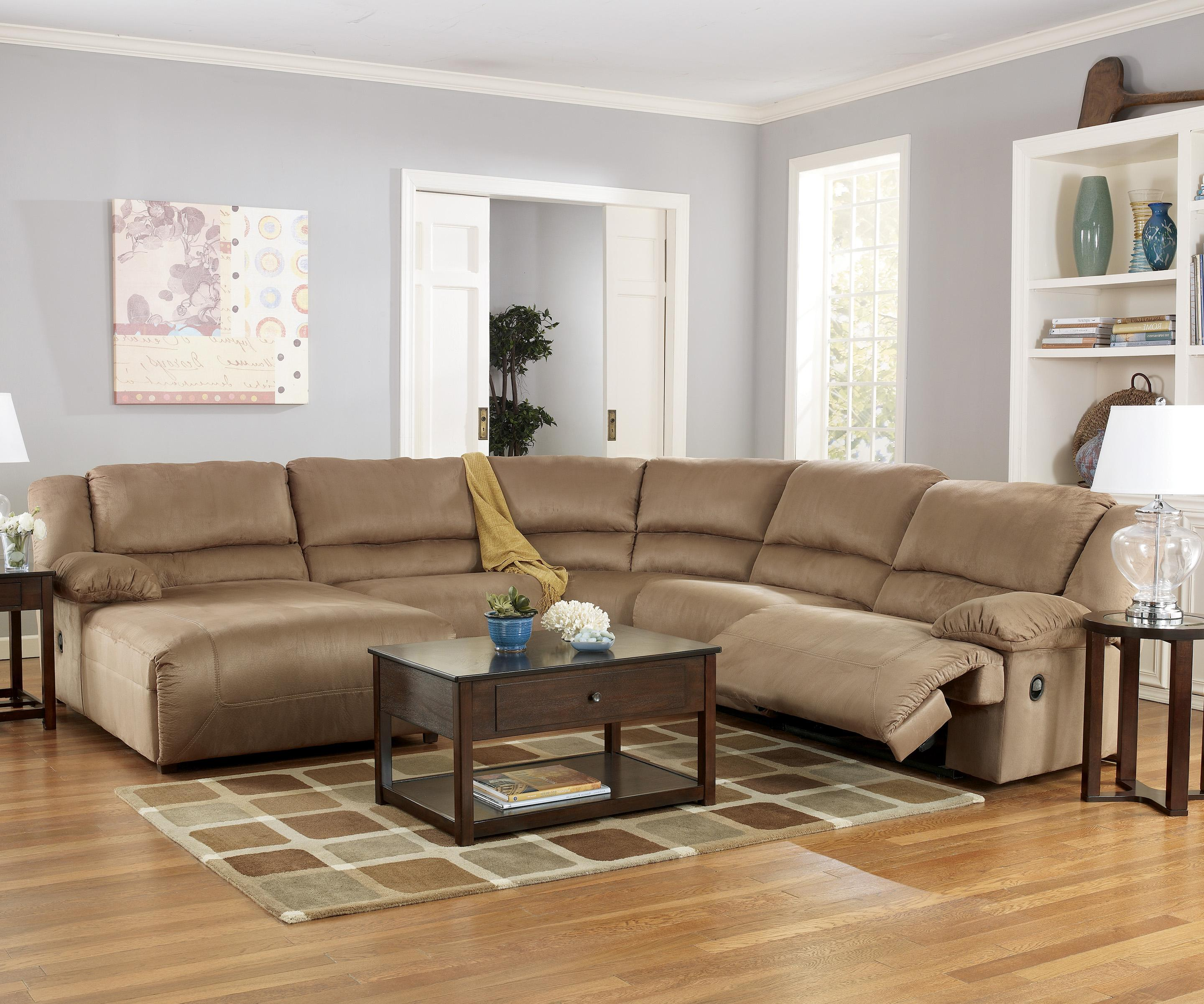 Ashley signature design hogan mocha 5 piece motion for Ashley chaise sectional