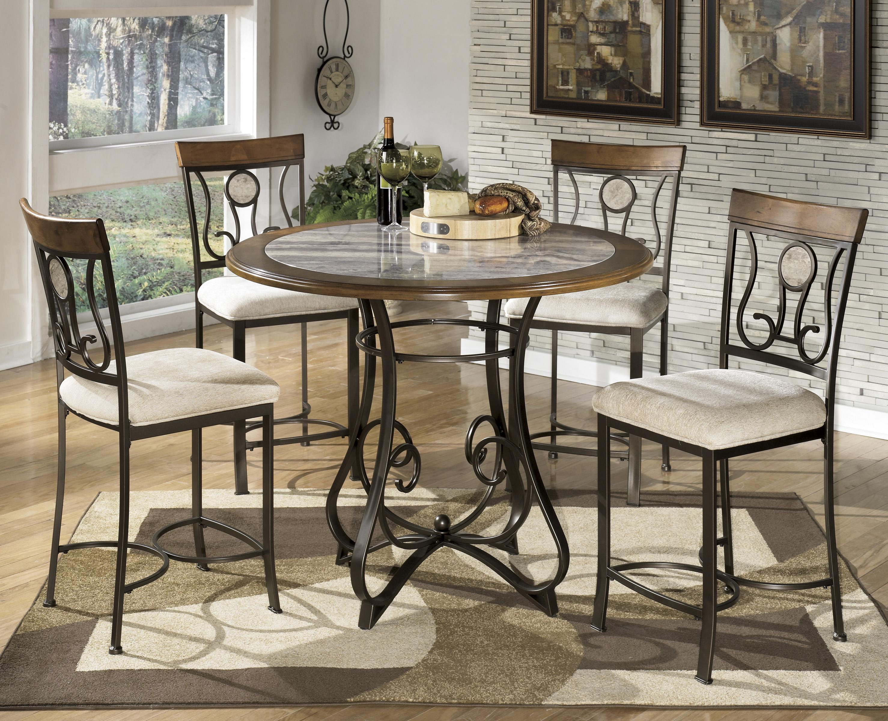 Signature Design by Ashley Hopstand 5-Piece Round Counter Table Set - Item Number: D314-13B+T+4x124