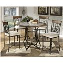 Signature Design by Ashley Tilley 5-Piece Round Counter Table Set - Item Number: D314-13B+T+4x124