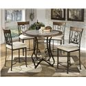Signature Design by Ashley Tilley Round Counter Table with Steel Base & Faux Marble Top