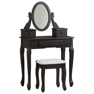 3-Piece Vanity Set with Mirror and Stool
