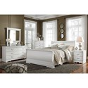 Signature Design by Ashley Aubrey : White 4-Piece Bedroom Group - Item Number: B129 Q 4 Piece