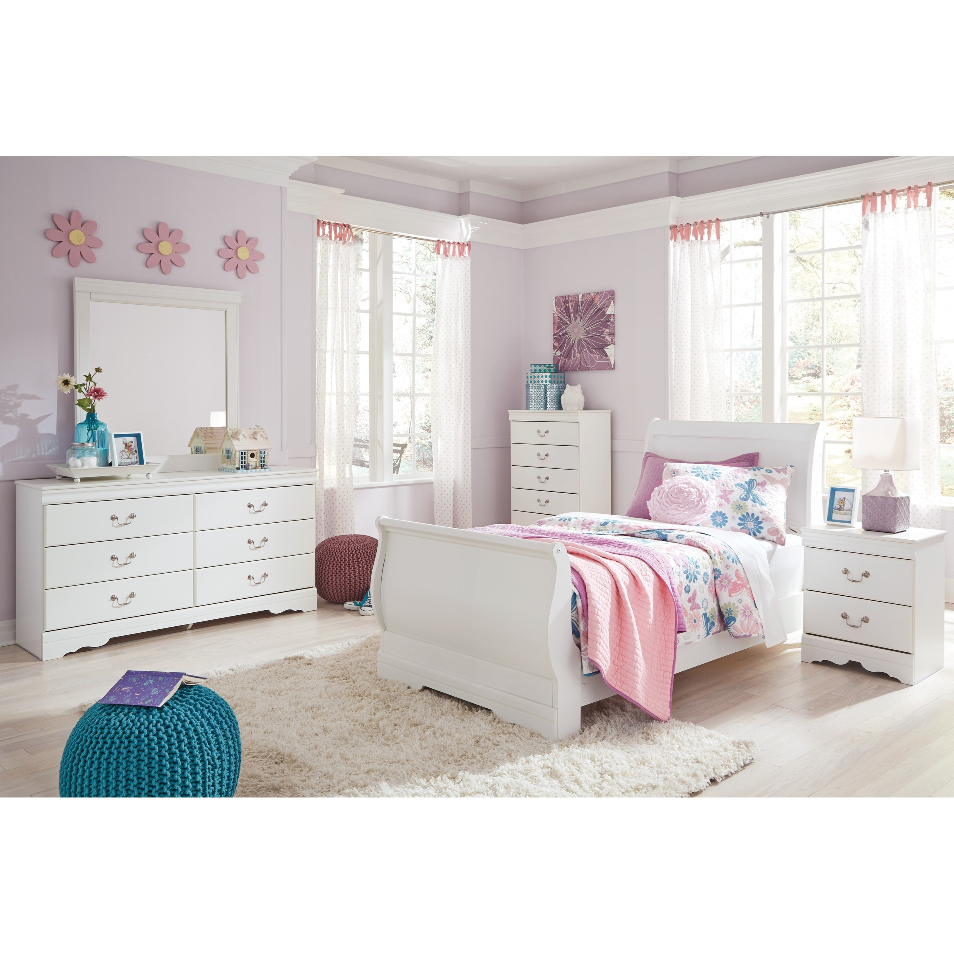 Ashley Furniture Fayetteville: Signature Design By Ashley Anarasia 4 Piece Twin Bedroom