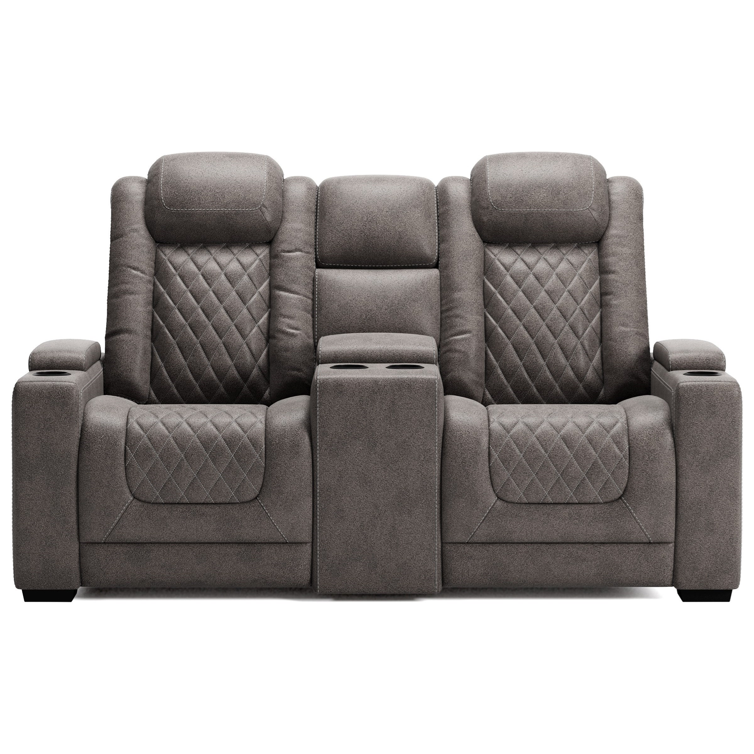 Hyllmont Pwr Rec Loveseat with Console and Adj Hdrsts by Ashley (Signature Design) at Johnny Janosik