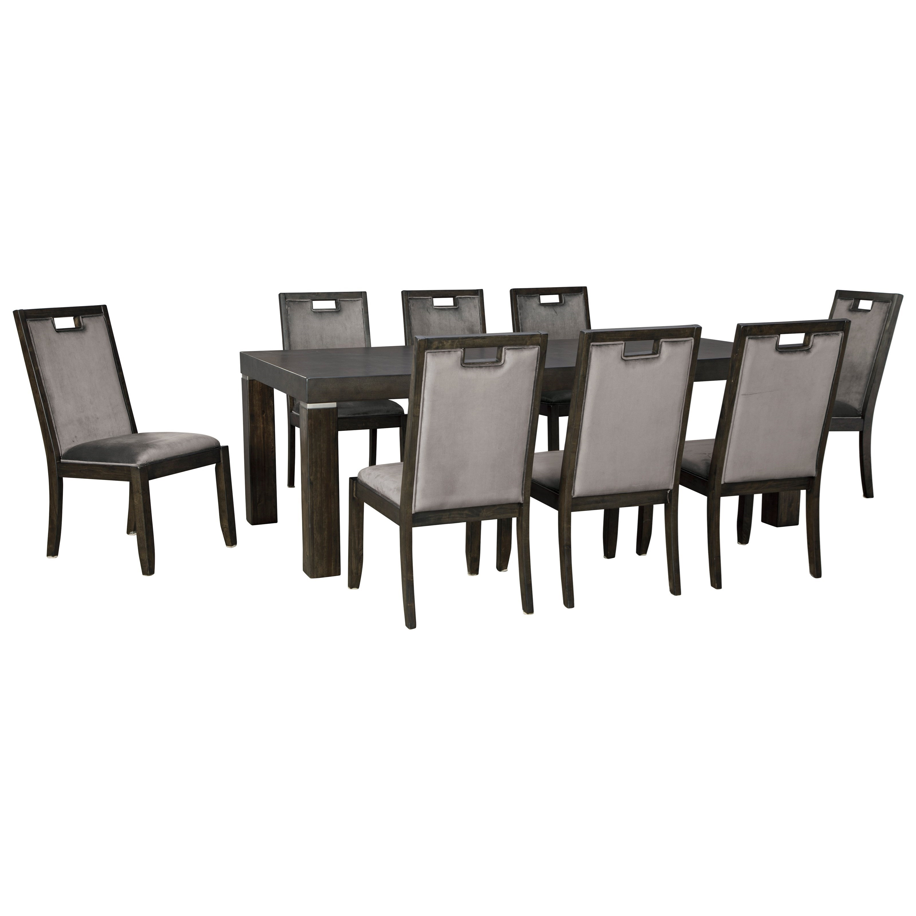 Hyndell 9-Piece Rectangular Dining Table Set by Ashley (Signature Design) at Johnny Janosik