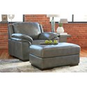 Signature Design by Ashley Islebrook Contemporary Leather Match Ottoman