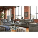 Signature Design by Ashley Islebrook Contemporary Leather Match Chair & Ottoman