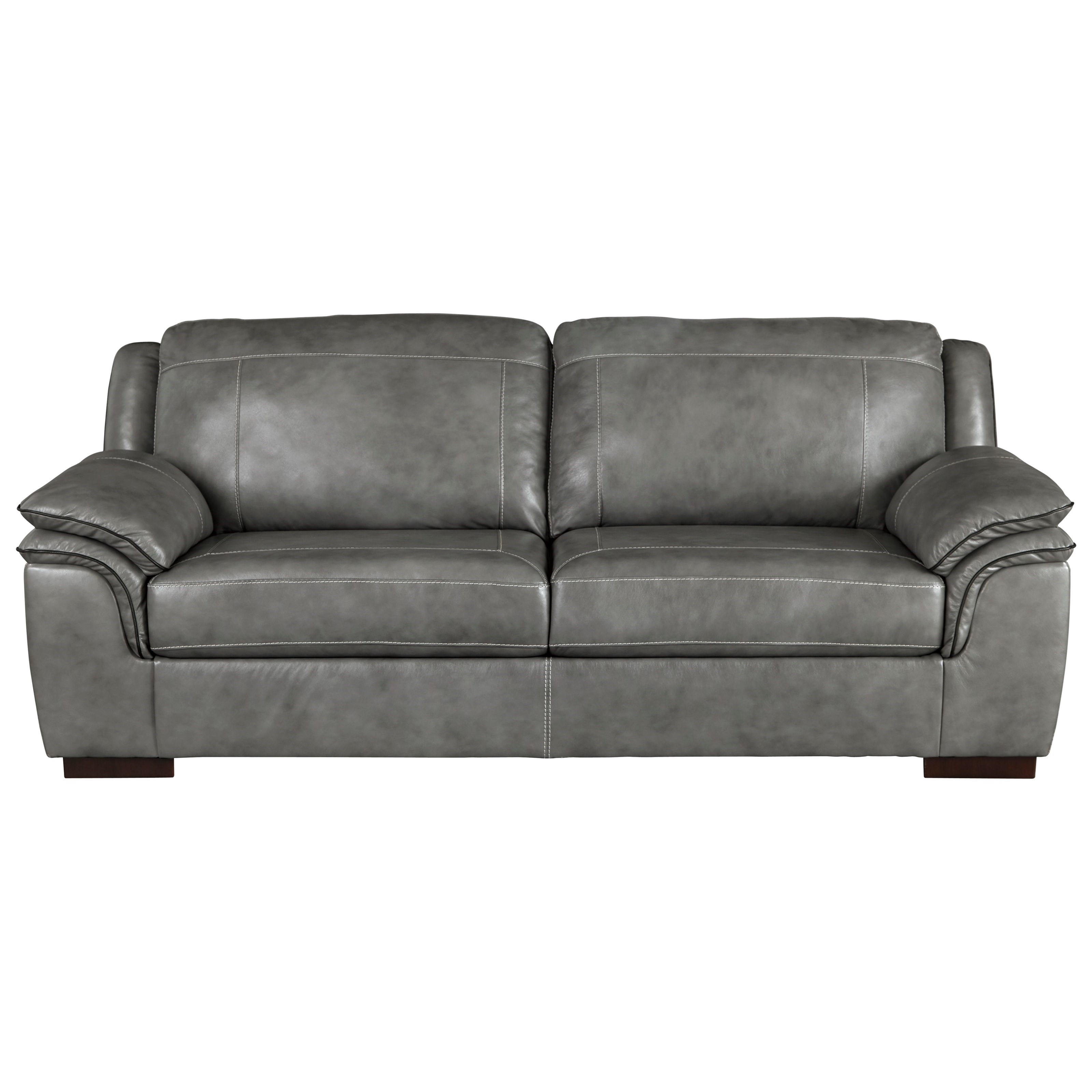 Signature Design by Ashley Islebrook Contemporary Leather Match Sofa ...