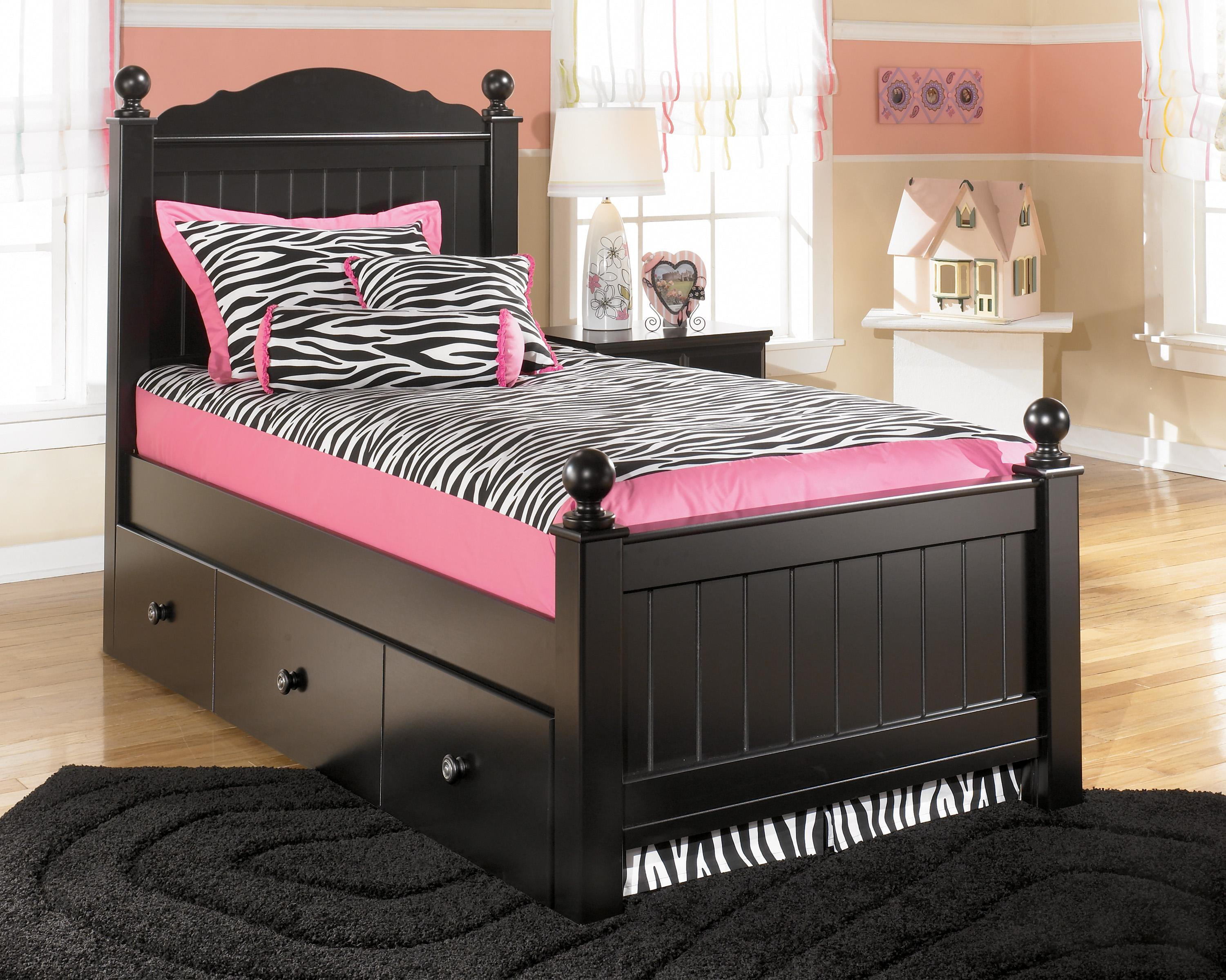 Signature Design by Ashley Jaidyn Twin Poster Bed with Trundle Panel - Item Number: B150-53+52+83+51+B100-82