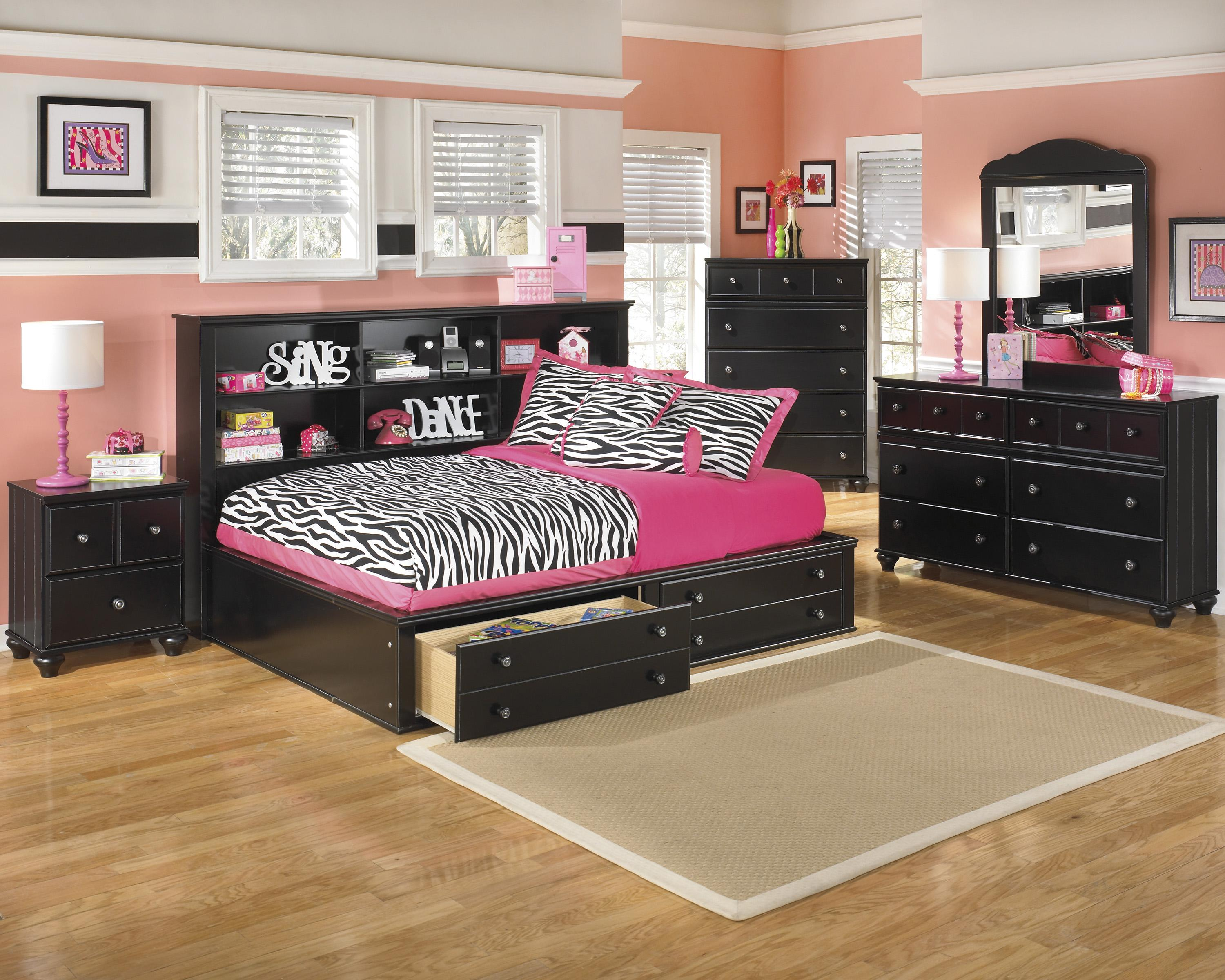 Signature design by ashley jaidyn full bookcase bed with footboard storage miskelly furniture - Ashley furniture full size bed ...