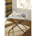 Signature Design by Ashley Janfield Tray Style Accent Table in Antique White Finish